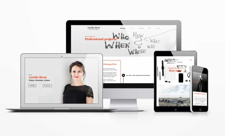 Aurelie Becat personal branding website mockup