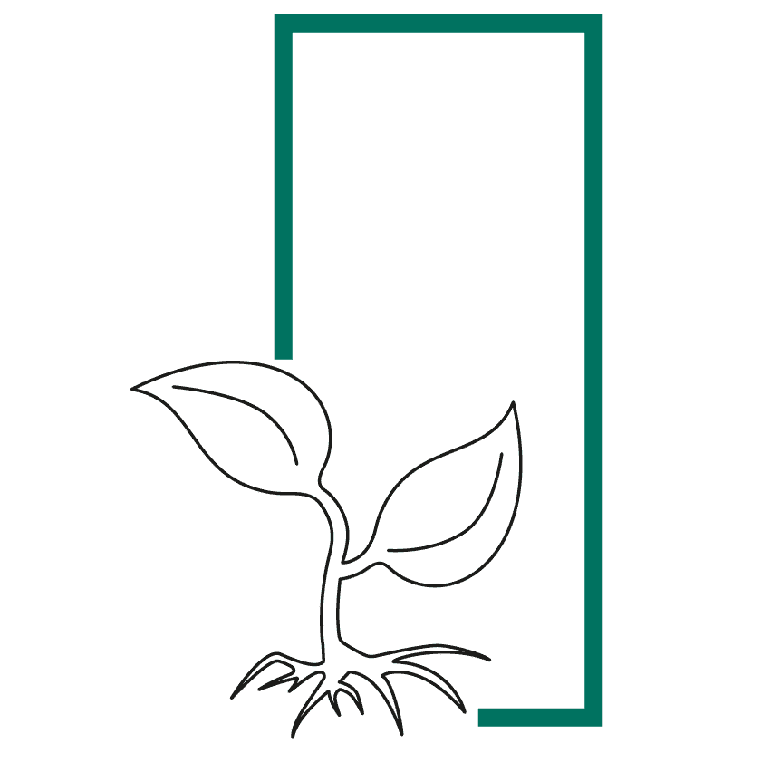 Icon of a growing sprout with root in a frame representing the solo-preneur sprout sole proprietorship